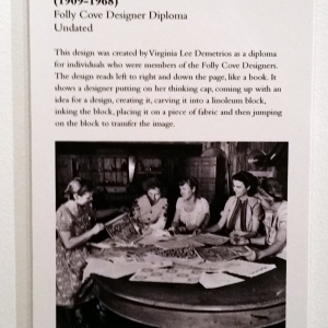 Label for the Folly Cove Designer Diploma display