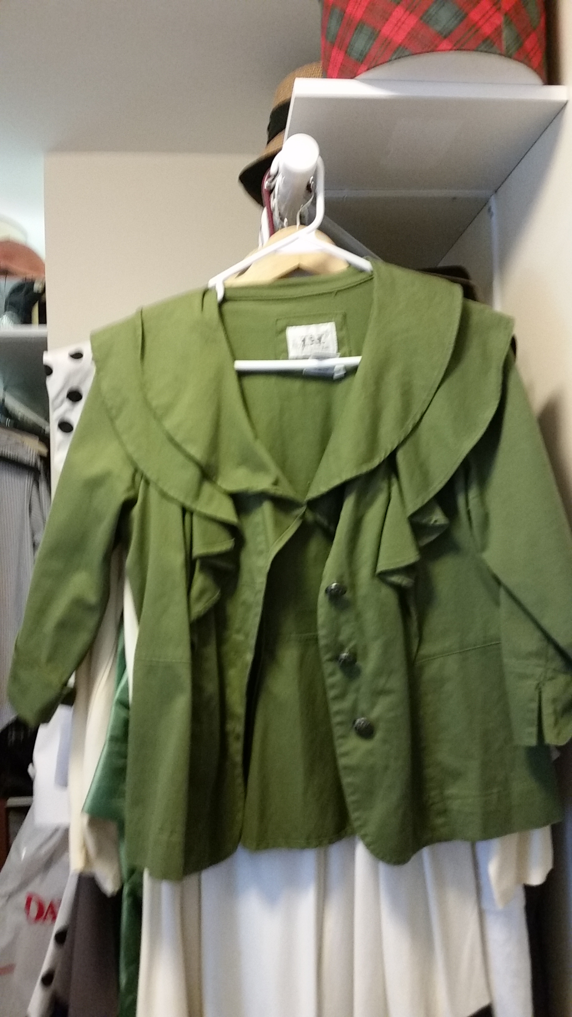 Ruffly olive blouse
