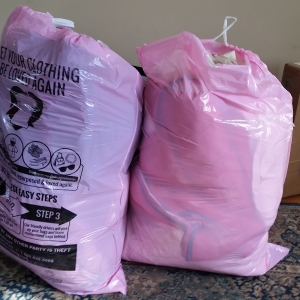 Eighteen pounds of old bedding ready for recycling