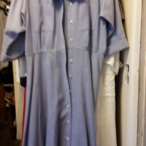 Blue oxford cloth shirtdress from consignment store in Ashland, Wisconsin