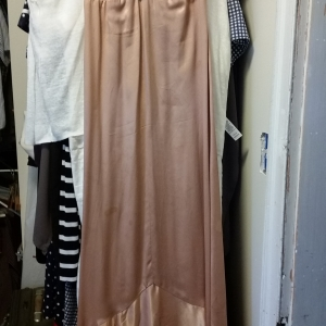 Flesh colored satin evening gown, bias cut with spaghetti straps, beading and cameo