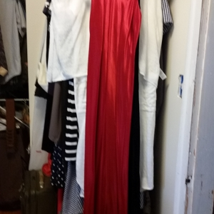 Red slinky evening dress with spaghetti straps
