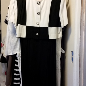 Graphic black and white short sleeved  dress with pseudo jacket and big pearl buttons