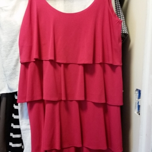 Pink tiered polyester flapper dress