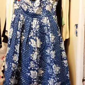 Another blue and white print strapless cotton dress.