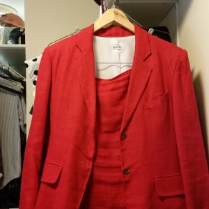 Red linen designer suit with VERY short skirt