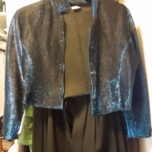 Black evening jacket with electric blue thread